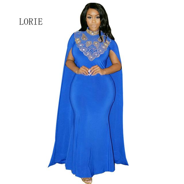Vestido de noite com Capa de Alta Pescoço De Ouro Frisado Strass Até O Chão comprimento Azul Royal Branco e Ouro Árabe Muçulmano Dubai vestido de Baile vestido
