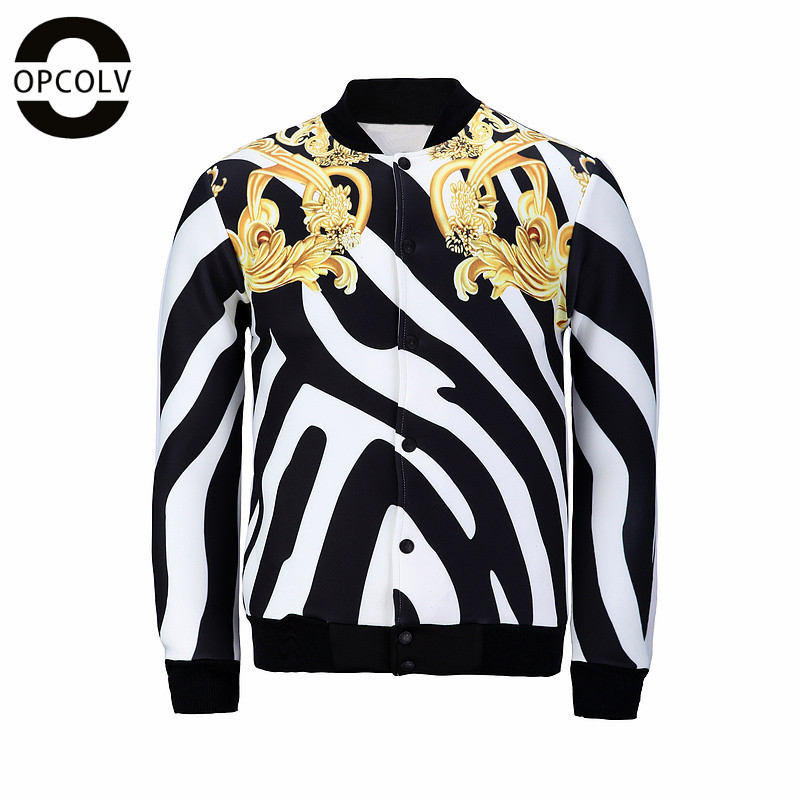 OPCOLV Newest Women/Men Hip HOP Jackets 3D Print Zebra Stripes Graphics Coat Harajuku Jacket ...