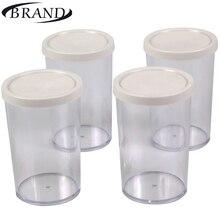 Стаканчики стеклянные для йогуртницы BRAND4002, Набор состоит из 4 шт* 200мл. С пластиковой крышкой