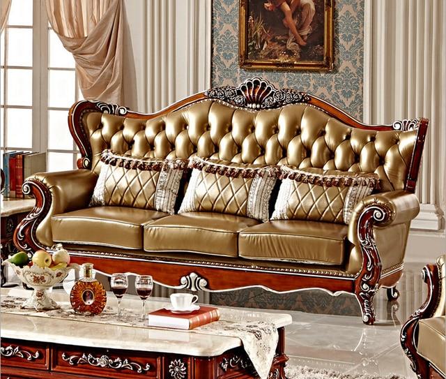 Classique en bois sculpté à la main en cuir salon canapé 0409 F101 ...