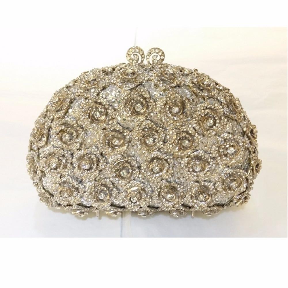 ФОТО 8363S silver Crystal ROSE floral flower Wedding Bridal Party Night  hollow Metal Evening purse clutch bag box case handbag