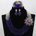 Encantos 6 Rollos Azul Nigeriano Boda Perlas Africanas Joyería Conjunto de Plata Del Partido de Cristal Conjunto de Collar Envío Libre WD101