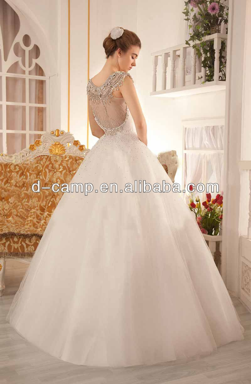WD 2695 Latest design sheer back no train wedding dress manufacturer ...