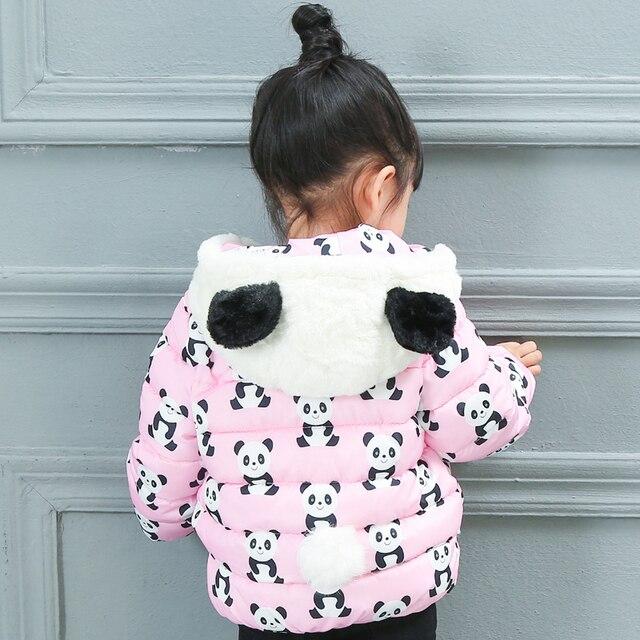 Venta caliente Nueva Chica Abrigo de Invierno, Encantadora Panda de La Historieta Chaqueta de Invierno para Niñas, Niños Ropa de Invierno Con Capucha Para Niños ropa Chaquetas