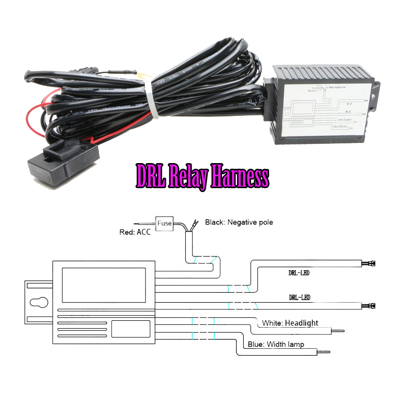 Car LED DRL Controller 12V LED Daytime Running Light DRL Relay Harness kit  Automatic On Off Reduce light Control led daytime running light drl relay harness automatic on off control box fog lamp cable 2pcs