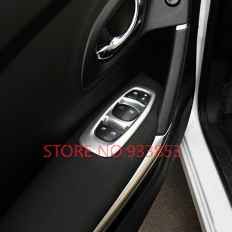 car abs chrome interior door window switch panel cover trim for lhd renault kadjar 2016 in car. Black Bedroom Furniture Sets. Home Design Ideas