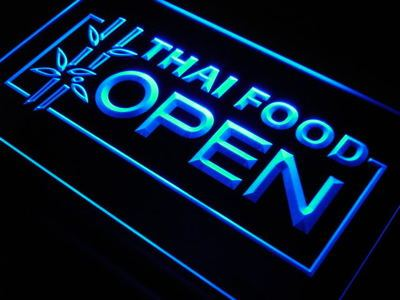 j705 Thai Food OPEN Cafe Restaurant LED Neon Light Sign Wholesale Dropshipping On/ Off Switch 7 colors DHL