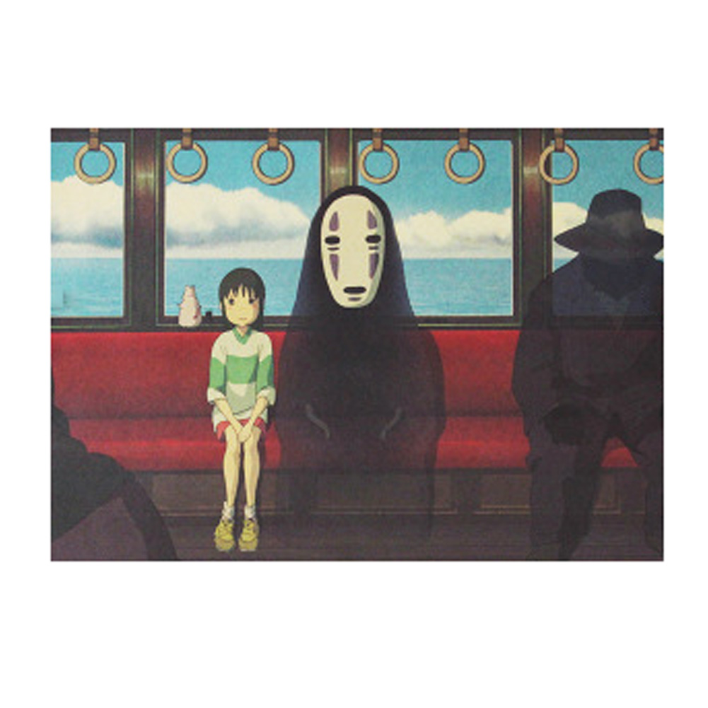 Spirited Away B/No Face man/classic Cartoon film/kraft paper/bar poster/Retro Poster/decorative painting 51x35.5cm