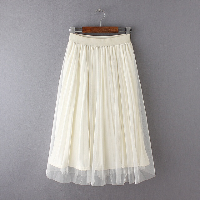Net Yarn Ball Gown European Style Pleated Patterns Summer Skirt White