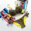 2016 Verão Mulheres Define Sexy Striped Bikini Swimsuit Beachwear Swimwear Das Mulheres empurrar para Cima do Biquíni Maiô Plus Size M-XXXL 68