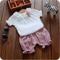 Nova Meninas Do Bebê Roupas de Verão Roupas Da Menina do Algodão Camisas + Calças Do Bebê Conjuntos de Roupas Infantis Roupas de Bebê