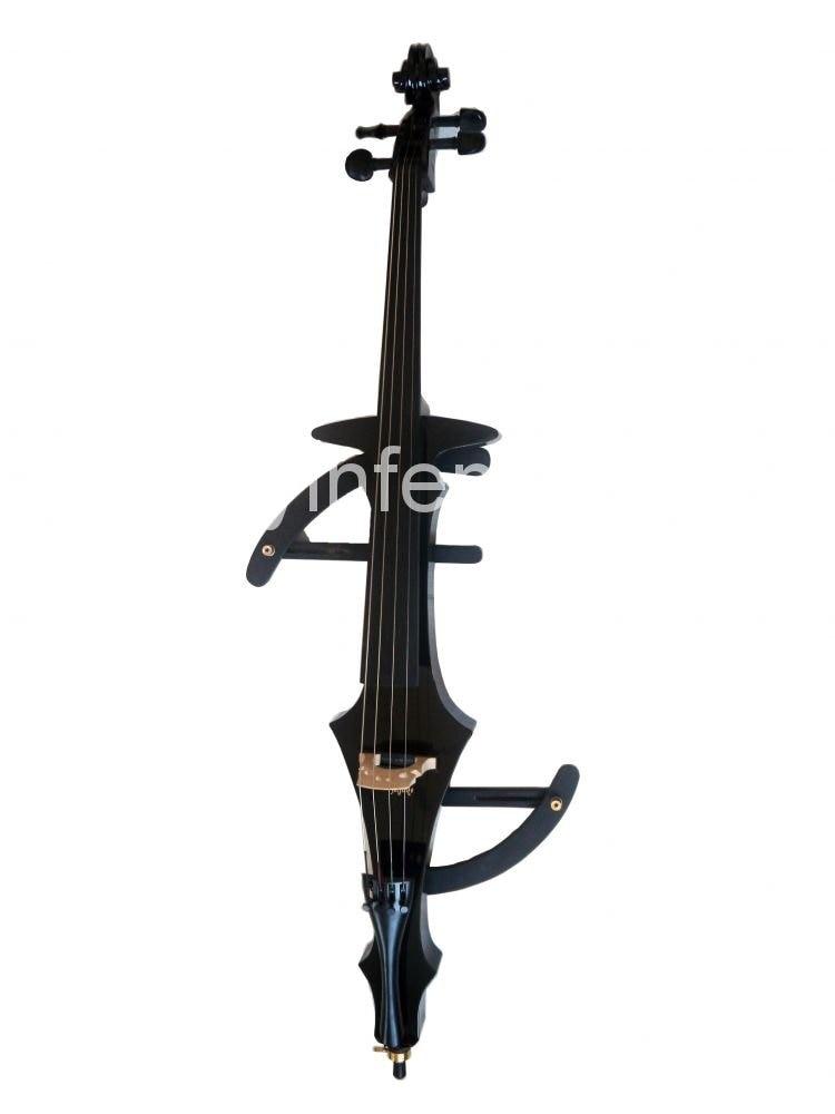 4/4 полноразмерная электрическая Виолончель, мощный звук, черная твердая древесина