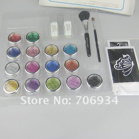 Wholesale glitter tattoo kit15 Colors Supply Kit Body Painting Tattoo Deluxe Kit Body Art Kit