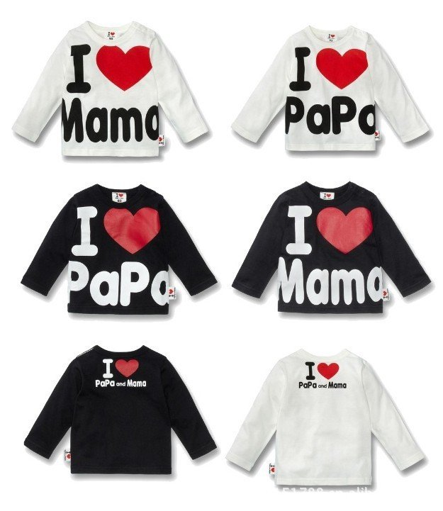 16 шт./партия/, детские комбинезоны с длинными рукавами, футболка для девочек, хлопковая футболка с надписью «I love papa and I love mama»
