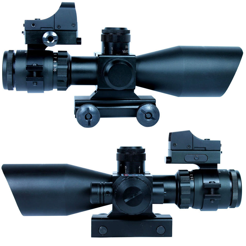 Hunting 2.5-10X40 Tactical Rifle Scope W/ Red Laser & Mini Reflex 3 MOA Red Dot Gun Weapon Sight For Hunting Scope Sniper Gun