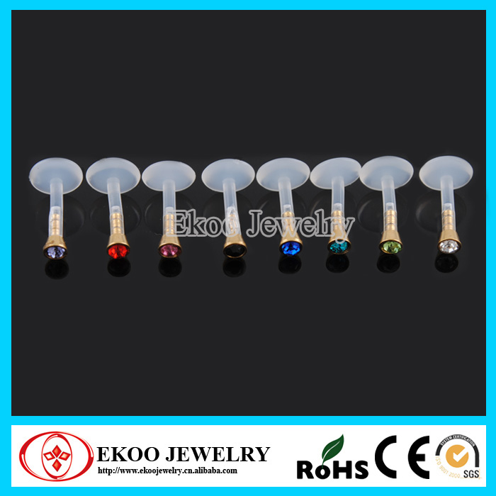 Internal Bio Flexible Labret With Flat Jewel Ball Lip Ring With 8