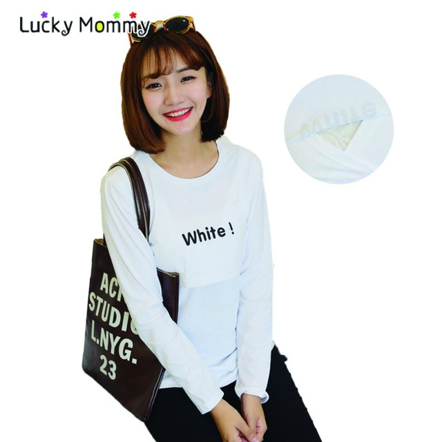 Long Sleeve Maternity T Shirts for Breastfeeding Spring Nursing Tops Letter Print Pregnancy Clothing Simple Maternity Tops