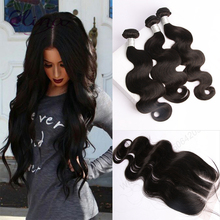 9A Brazilian Virgin Hair With Closure 3PCS Brazilian Body Wave Hair Bundles With 1PC Lace Closure 4×4 Part 100% Human Hair Weave