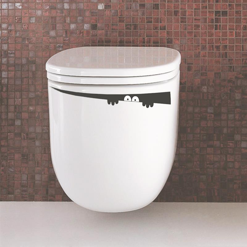 1 piece 4.2*42cm Peeping Toilet Monster Decal Vinyl Bathroom Sticker Wall Mural Furniture Home Room DIY Free Shipping