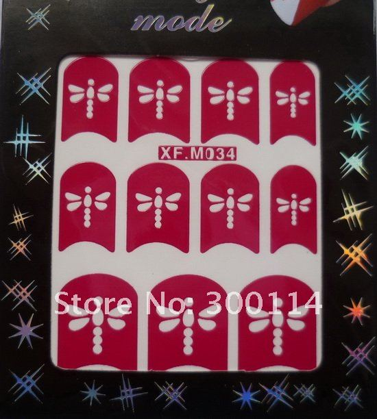 Новое поступление, 48 стилей, дизайн ногтей, французский маникюр, выдалбливают, модель, наклейки для ногтей, 200 упаковок/партия