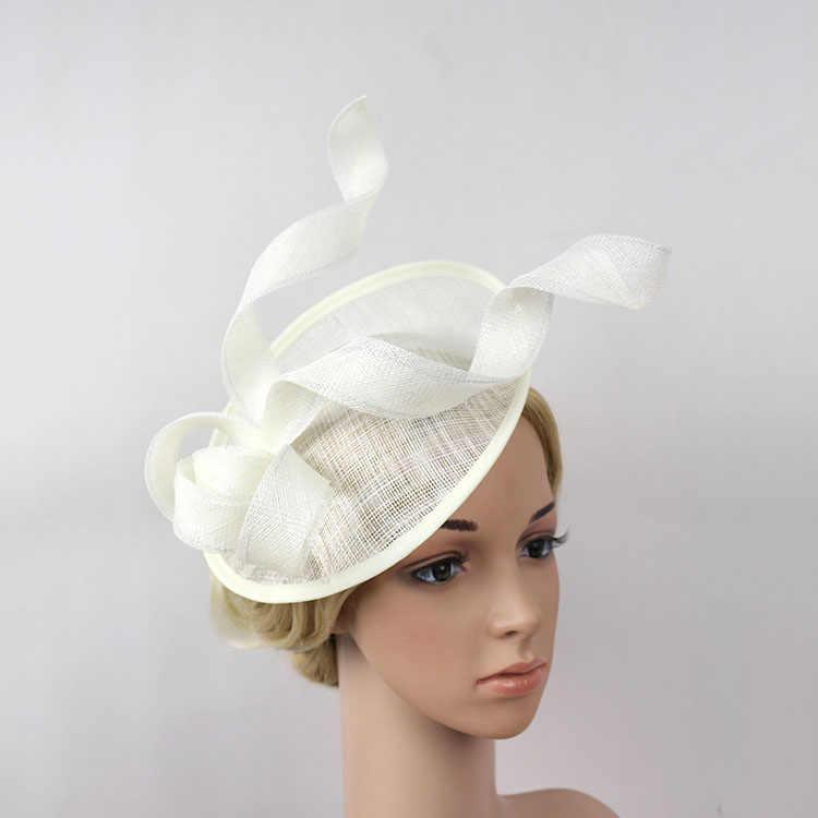 220cdbefb9fd3 New White Black Vintage Fascinators Sinamay Bride Hair Clip Sinamay Hat  Headwear lady Hats for Wedding