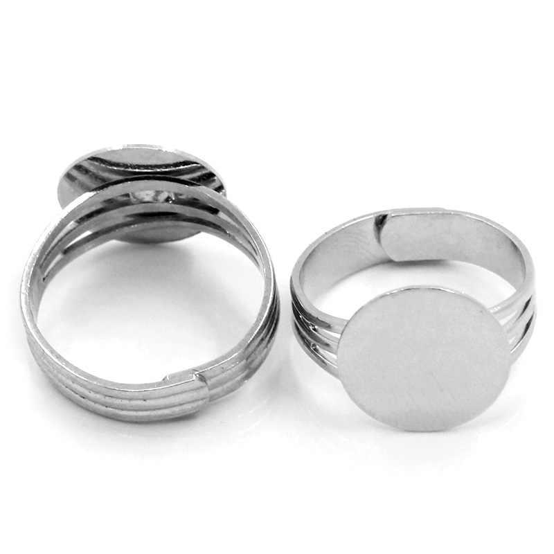 2019 10 Pcs Baru Adjustable Cincin Dasar Temuan 18 Mm Bulat Perak Nada untuk Temuan Perhiasan DIY