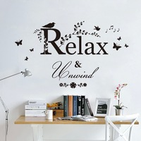 Birds Singing On Tree Branch Wall Mural Poster Relax Unwind Wall Quote Home Wall Decal Sticker