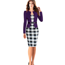 2016 Elegant Fake 2 Piece Set Plaid Patchwork Belted Office Bodycon Midi OL Dress Womens Tartan Colorblock Work Dress