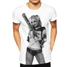 2016 Горячий Продавать Мания Suicide Squad Harley Quinn мужская Футболка Цвет Белый Мужская Мода Топ Ти