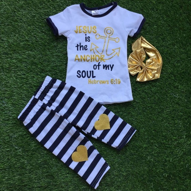 2016 Summer girls outfit girlsbaby kids boutique girls clothing Jesus is the anchor of my soul clothing with headband
