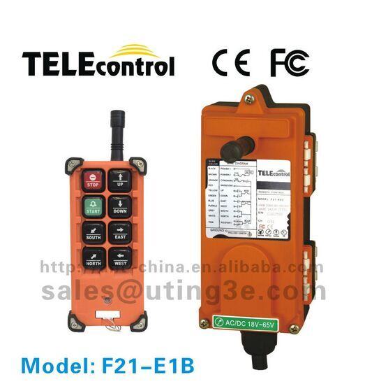 F21-E1B(1 transmitter 1 receiver) 8 buttons 1 speed industrial crane radio remote control for hoist