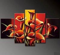 ручная роспись стены искусства сияющий белый персик цвести украшение дома абстрактный пейзаж маслом на холсте 5 шт./компл. mixorde