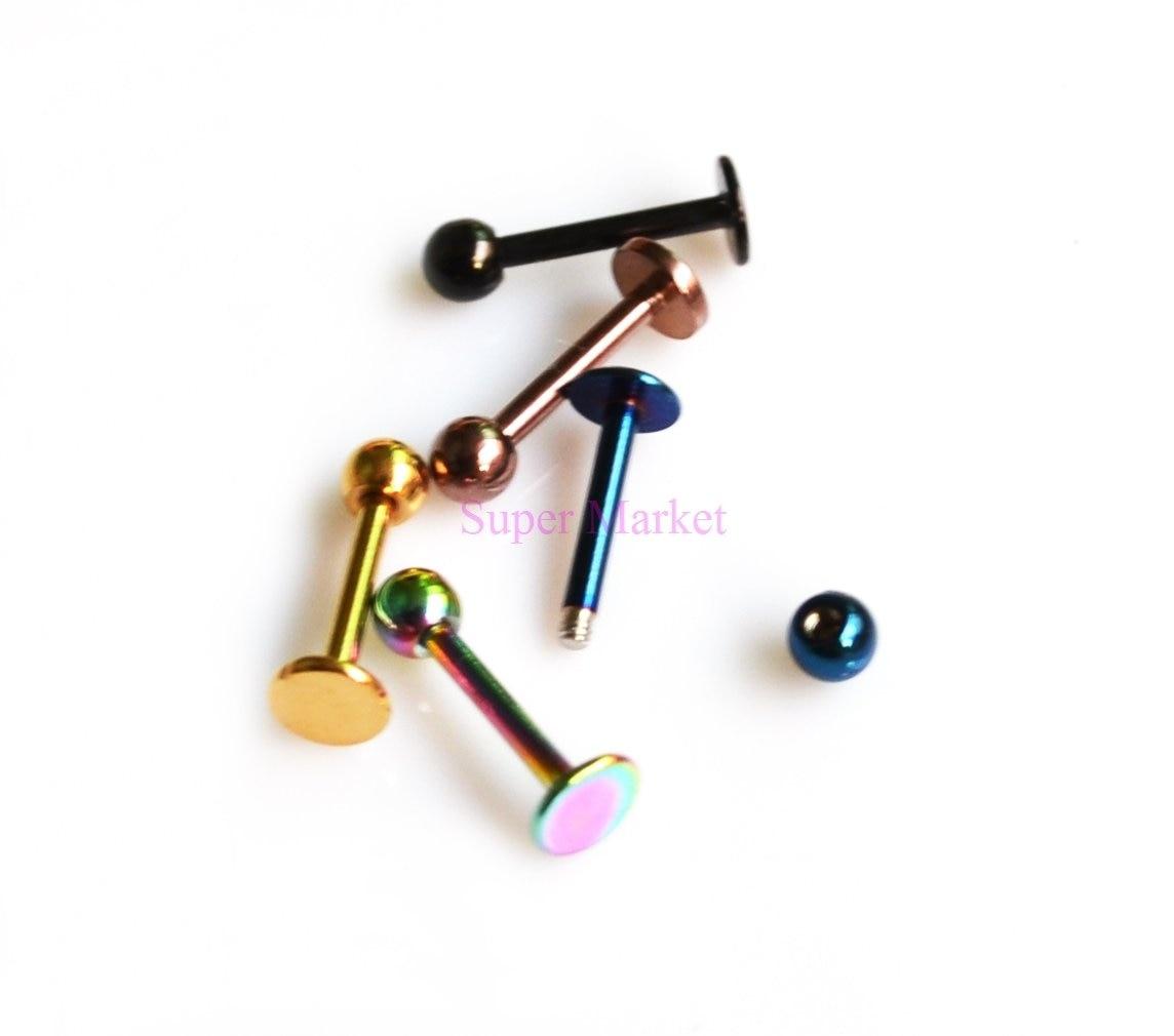 Губы бар Лабрет кольца гвоздь вакуумное покрытие 316l ss 16G покрытием разноцветный пирсинг для тела Ювелирный шар баров