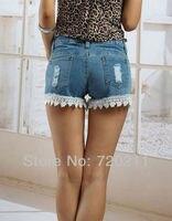 модест бахрома деним шорты женщины, высокая высокой талией синий джинсы шорты