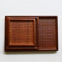 Estilo japonés hecho a mano de madera bandeja de plato de madera de madera de ratán herramienta de cocina placa vajilla tejido cuadrado ensalada bandeja