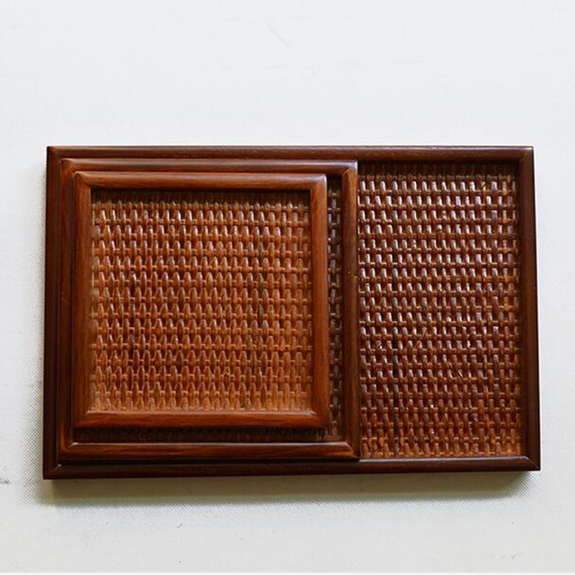 Hand-made Japanese style wooden tray wooden dish Rattan wood plate kitchen tool dinner ware woven square salad tray