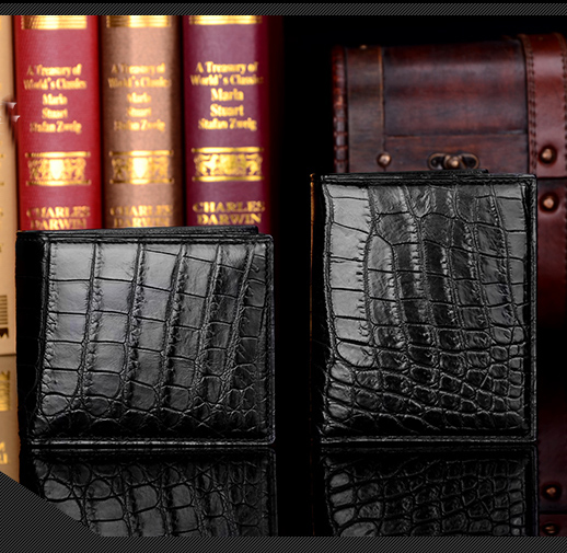 Luxury genuine real crocodile leather men wallet croco skin short wallet dhl ems 2 sets new for omron relay my4n gs 220vac