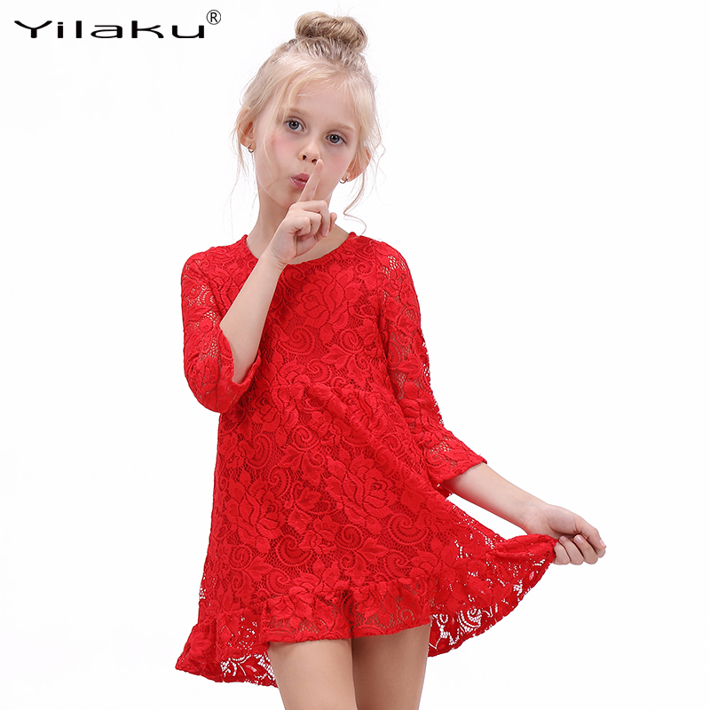 Yilaku High Quality Lace Flower Girl <font><b>Dress</b></font> <font><b>Kids</b></font> Bell Sleeve Special Occasion <font><b>Cocktail</b></font> <font><b>Dresses</b></font> For Girls Party Costumes CA278 image
