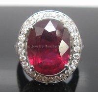 14 к белый ШП блестящие крови рубин кольцо с бриллиантом