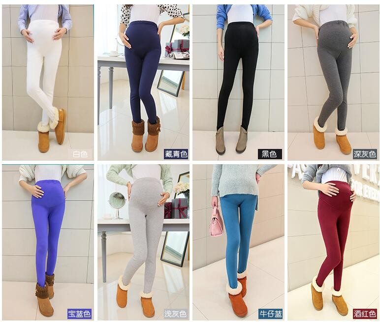 Women Clothing High Waist Leggings Maternity Clothes Winter Leggings Thickened With Velvet Pregnant Women Trousers Warm Pants 1