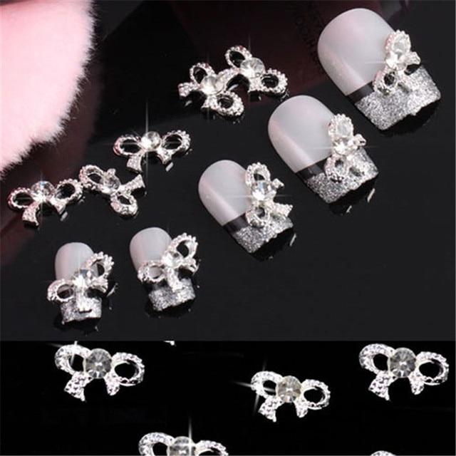Fashion 20pcs 3D Nail Art Tips Bow Tie Crystal Rhinestone Silver Alloy Nail Stud Decoration Glitters DIY Beauty Tool