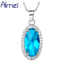 New 2014 Wholesale 925 Sterling Silver Makeup Necklace Korean Style Oval Ocean Blue Zircon Crystal For