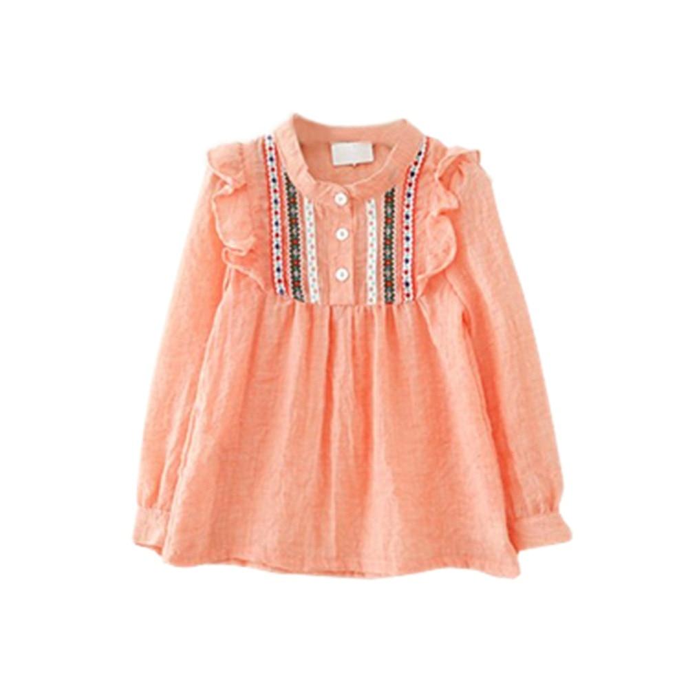 ad66243de لطيف 1-6y الطفل الاطفال فتاة الكشكشة loosetops القمصان بلوزة كم كاملة قمصان  للبنات
