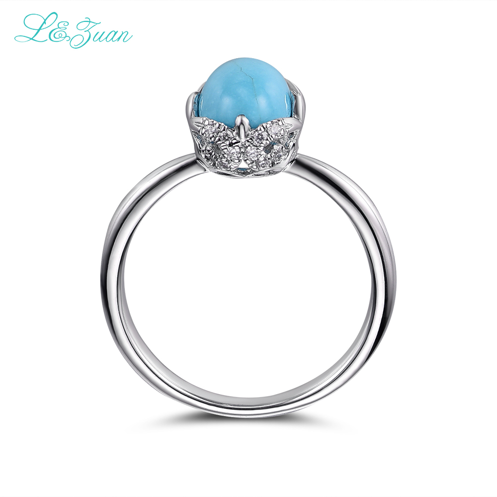 Stylish Fashions 925 Sterling Silver Women Ring Turquoise Natural Gemstone Size - M eg9n6aQP4