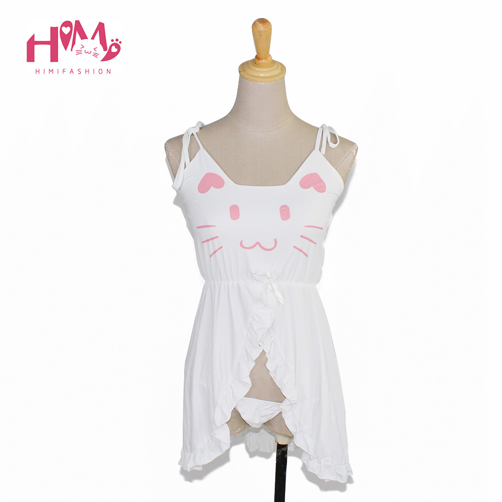 Women cotton Pyjamas black ladies nightgowns cat sexy artificial sleepwear graphic cute homewear nightwear feminine 3