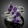Jenia Gold Plated Purple Cubic Zirconia Engagement Ring Elegant Temperament Type Jewelry XR031