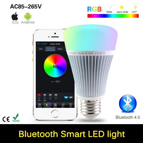 E27 8W Mi Light Bluetooth 4.0 RGB LED Bulb 110V 220VSmart Light with Smartphone App Remote Control For Android IOS 2 4g wifi android ios app remote control led globe light bulb e27 9w rgb
