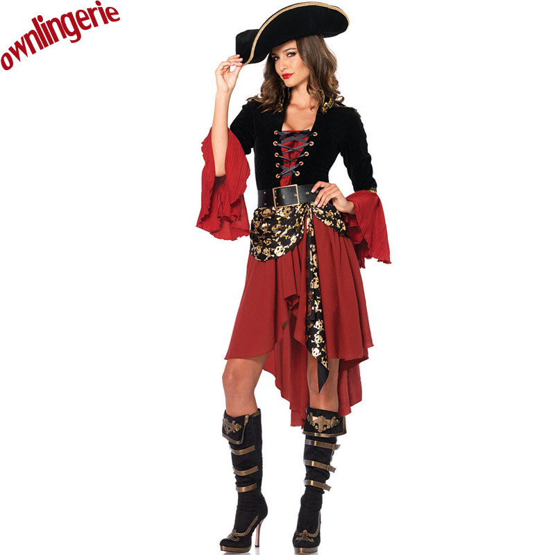 Free shipping gold stars style pirate costumeruffled gangster fancy dress costume for women with pirate hat on Aliexpress.com | Alibaba Group  sc 1 st  AliExpress.com & Free shipping gold stars style pirate costumeruffled gangster fancy ...