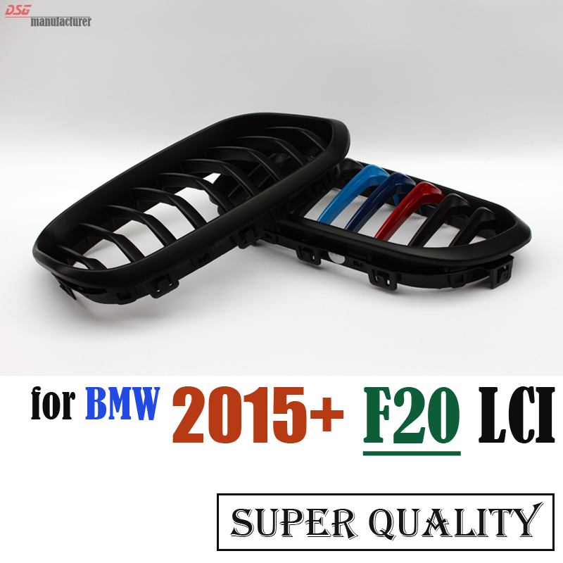 2015 2016 F20 LCI ABS M Color Kidney Grille Grill for BMW 1 Series F20 F21 118i M135i 116d 120i 120d Urban Line Replacement Part f20 pre lci carbon fiber abs front kidney grille for bmw f21 120i 118i 118d 116i m135i 2012 2013 2014