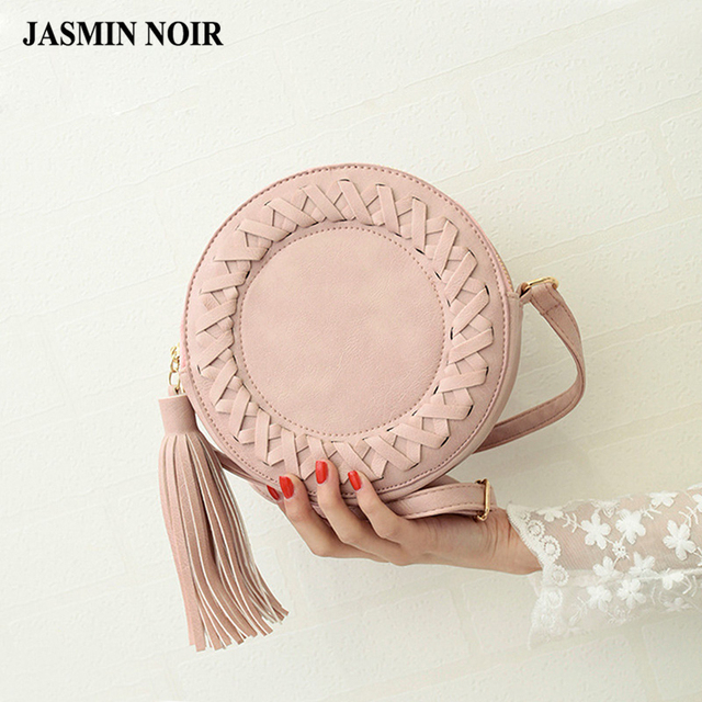 2016 New Fashion women bag tassel Round weave Cross body Bag Messenger Bag Ladies Cute roll Shoulder Bag green grey BROWN